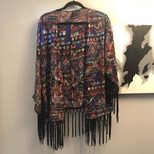 New Directions XL fringed kimono -VG condition
